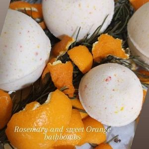 Homemade sweet orange and rosemary bathbombs